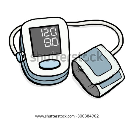 blood pressure monitoring / cartoon vector and illustration, hand drawn style, isolated on white background. - stock vector