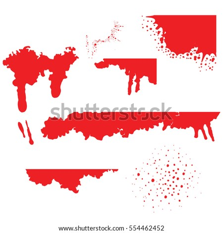 Blood spatters realistic bloodstains patterns set of smears splashes drippings drops on white background vector illustration