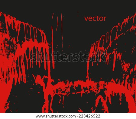 Blood splashing on black. Blood pouring down in streams and drops isolated against a black background. - stock vector