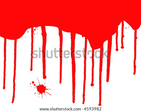 Blood Splats and Drips - running down over a white background - stock vector