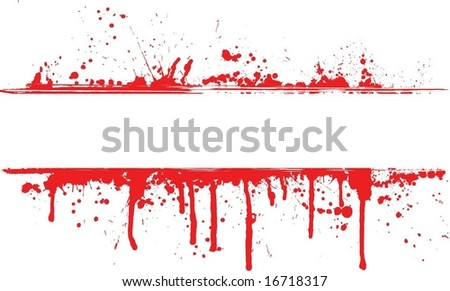 Blood splatter border - stock vector