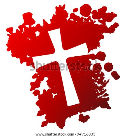 Blood splatter with negative image of a cross in it - stock vector