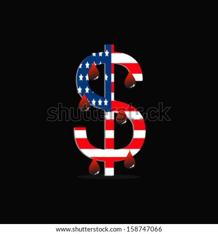 Bloods drop from US dollar and map sign - stock vector