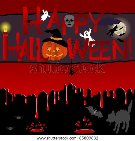 Bloody background with a banner and various symbols of a Halloween. Vector illustration.