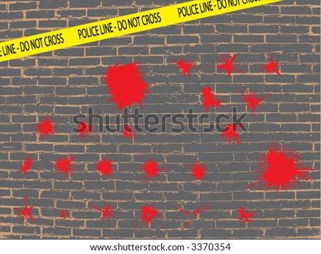 bloody crime scene themed ink splatter elements - stock vector