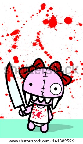 bloody doll - stock vector