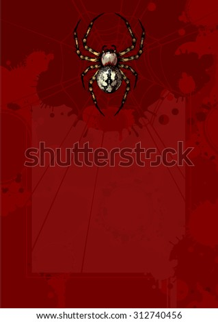 Bloody Halloween background with a spider - stock vector