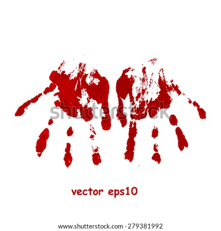 Bloody hand print - Vector background