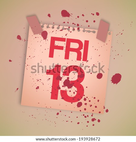 Bloody Note Paper Friday 13th Vector - stock vector