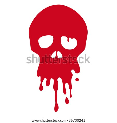 Bloody skull - stock vector