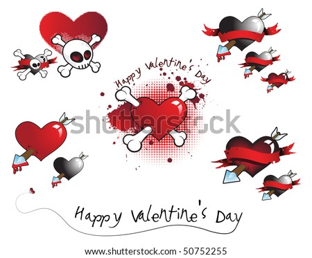 Bloody Valentine Icon Set Male Of Hearts, Bones, Arrows, Skulls And Blood.