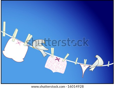 bloomers to thongs - women's undies hanging on a line two birds resting between - seamless pattern on briefs - stock vector