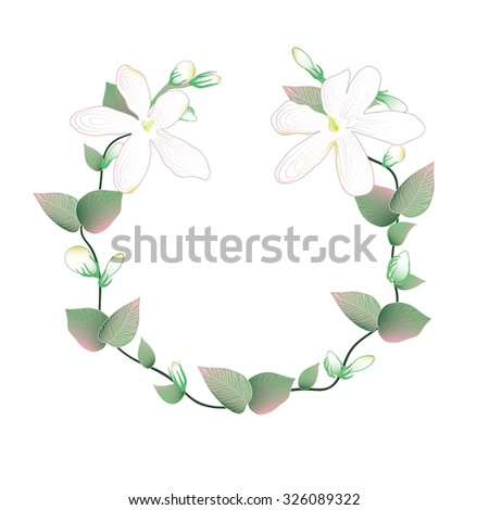 Blooming and budding Jasmine flowers wreath - stock vector