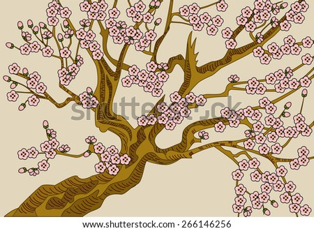 Blooming cherry. The vector illustration of blooming cherry with pink flowers. - stock vector