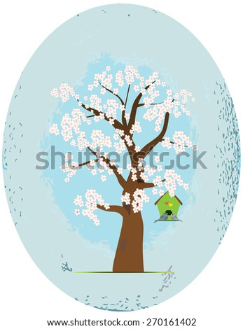 Blooming Japanese cherry tree with bird houses - stock vector