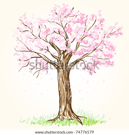 Blooming tree - stock vector
