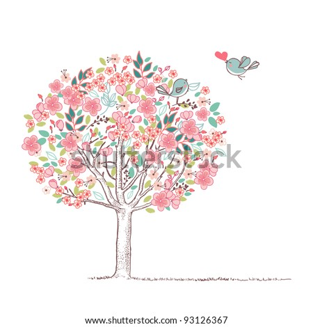 blooming tree and birds in love - stock vector