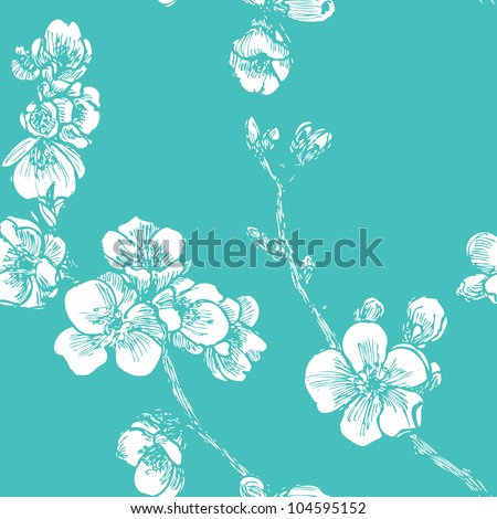 Blooming tree seamless pattern in vector - stock vector