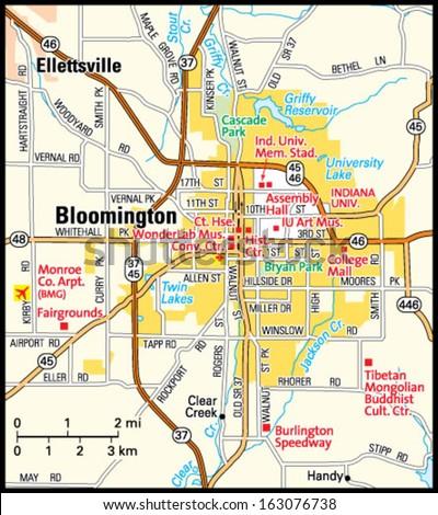Bloomington Indiana Area Map Stock Vector 163076738 Shutterstock