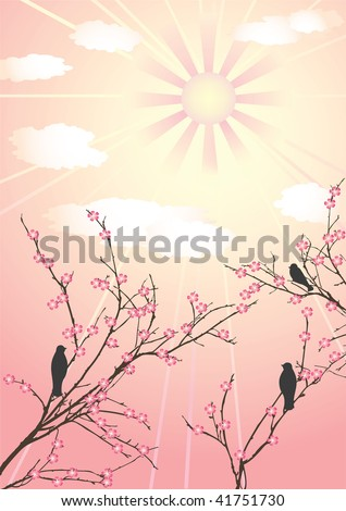 Blossom cherry-tree and birds. Vector  illustration. - stock vector