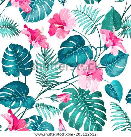 Blossom flowers for seamless pattern background. Vector illustration. - stock vector