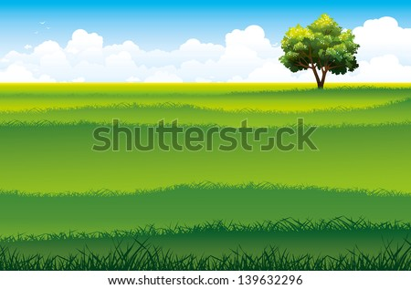 Blossom tree and green field on a blue sky background with clouds. Vector summer landscape. - stock vector