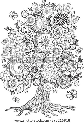 Blossom Tree Vector Elements Coloring Book Stock Vector ...