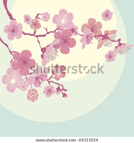 Blossoming Cherry Tree - stock vector