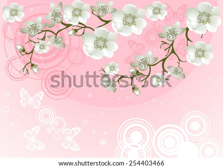 Blossoming Cherry Tree for your design - stock vector
