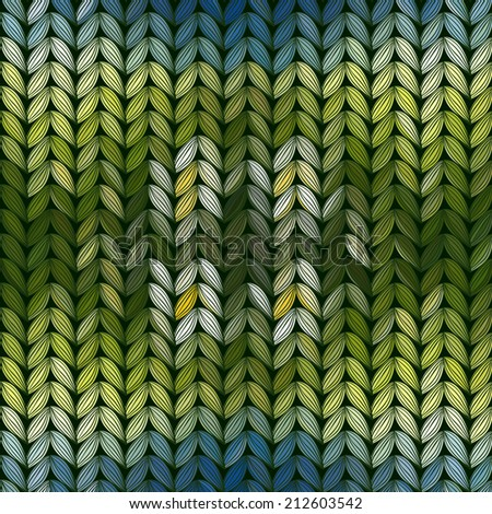 Blossoming field with chamomiles. Knitted pattern.  - stock vector