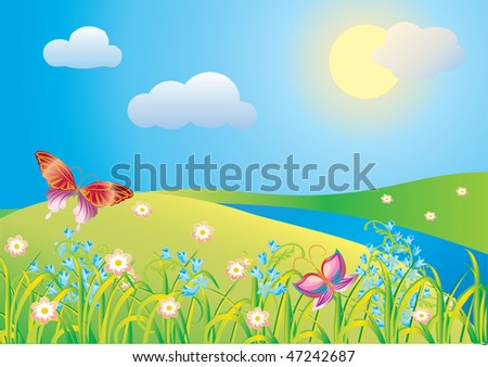 Blossoming meadow - stock vector