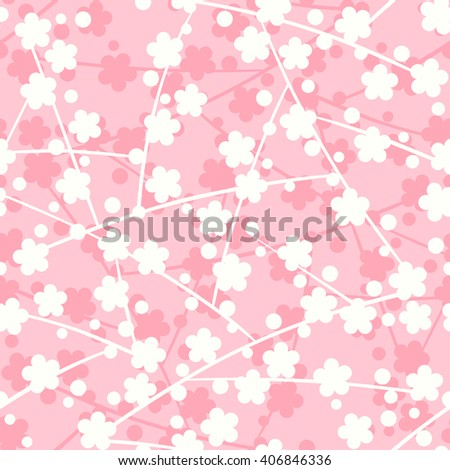 Blossoming sakura flowers Japanese seamless pattern