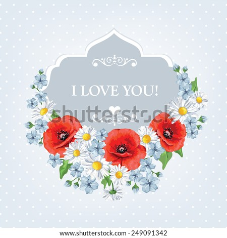 Blossoming spring flowers. Chamomiles , poppies. Vector illustration. Perfect for background greeting cards and invitations of the wedding, birthday, Valentine's Day, Mother's Day.  - stock vector