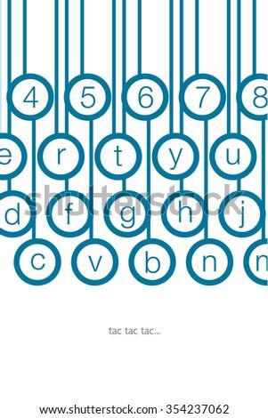 blow alphabet keyboard keys - stock vector