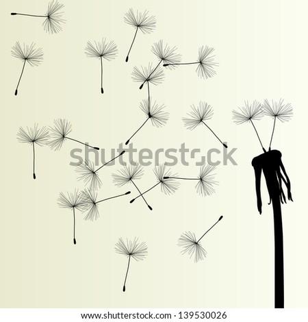 Blow dandelion vector vintage background concept - stock vector