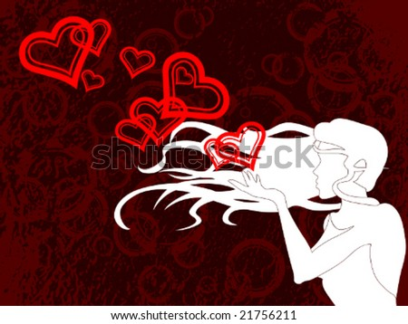 Blowing a kiss (vector); a JPG version is also available - stock vector