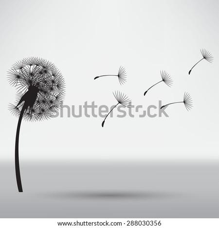 blowing dandelion - stock vector