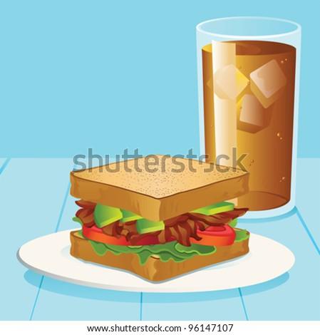 BLT with Avocado and Iced Tea - vector - stock vector