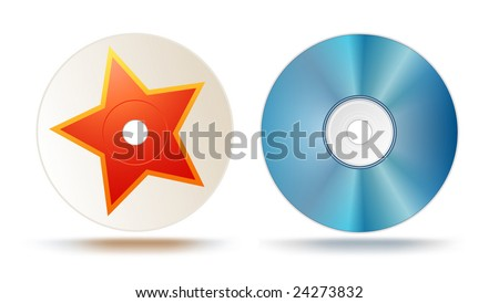 Blu-ray disc (design template, star can be easily removed) - stock vector