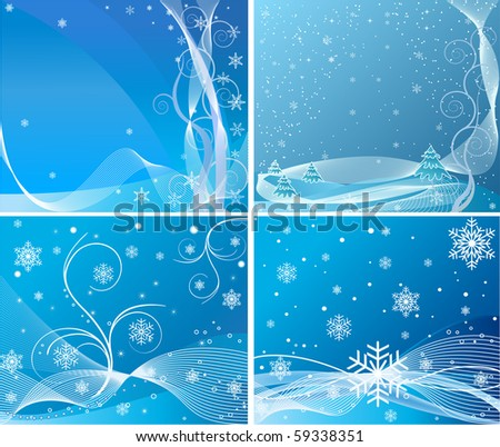 Blue abstract background set