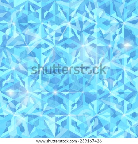 Blue abstract background with geometric crystal pattern and lights effect - stock vector