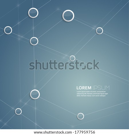 Blue abstract  background with mesh and glowing lines, plastic circles and shapes. Techno design. Template for web, brochures, presentations, explanations, flyers,internet, magazine, padded, blank - stock vector