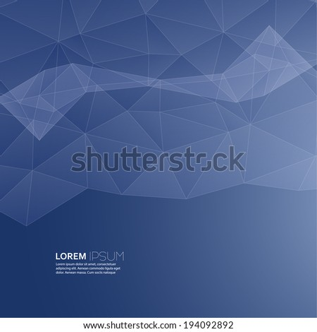 Blue abstract  background with transparent mesh and glowing lines and shapes. Template for web, brochures, presentations, explanations, flyers,  mobile phones, internet,  magazine, padded, blank - stock vector