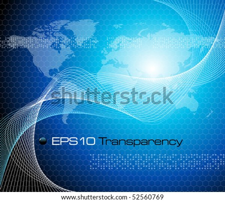 Blue abstract background with world map - vector illustration - stock vector