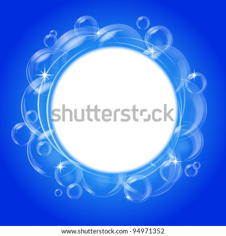 Blue abstract banner with transparent bubbles. Vector background. - stock vector