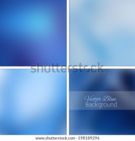Blue abstract blurred background set. Vector illustration. Collection 2. - stock vector