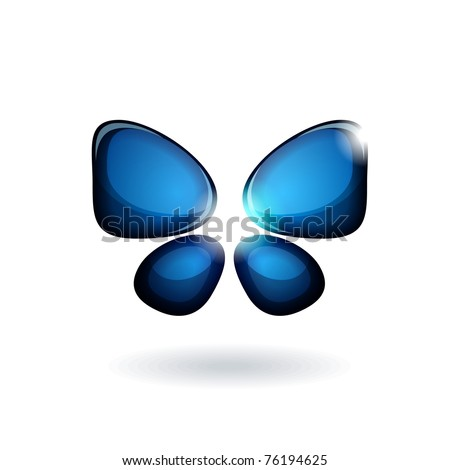 Blue abstract butterfly isolated on white background - stock vector