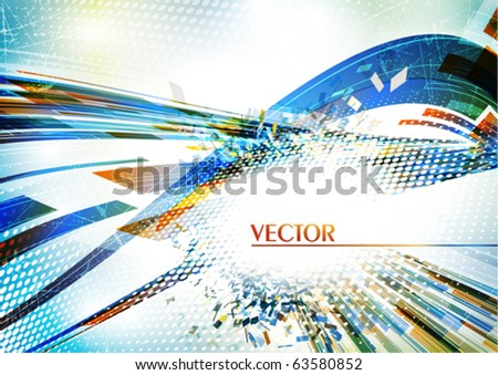 Blue abstract card. Vector