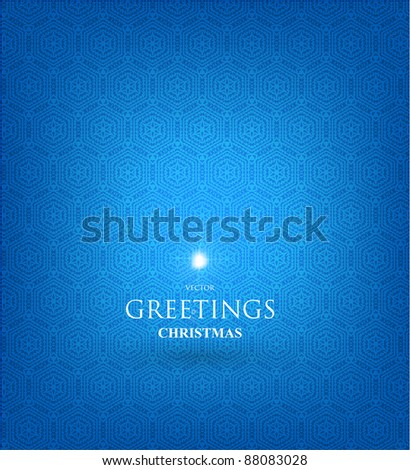Blue Abstract Christmas background with seamless snowflakes ornament - stock vector