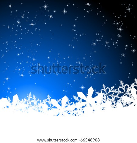 blue abstract christmas background with white snowflakes - stock vector